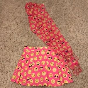 Emoji skirt with built in shorts with scarf